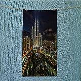 AmaPark enduracool Towel Kuala Lumpur Petronas Twin Tower During Blue Hour Soft & Absorbent W35.4 x H11.8 INCH