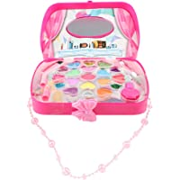Flameer Girls All-in-One Deluxe Makeup Jewelry Box with Mirror Cosmetic Toys Pretend Play Game Eyeshadow Lipstick