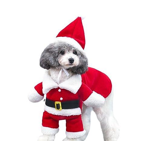 DELIFUR Trajes de Navidad para mascotas Traje de perro con gorra Traje de Santa Claus Sudaderas