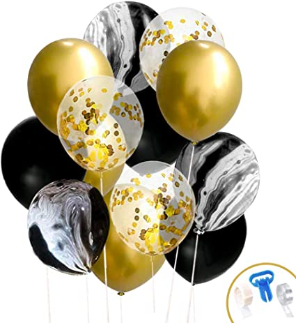 Balloon Arch Kit Black Gold White Marble 100 pcs Helium Balloons Confetti Latex