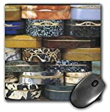 3dRose mp_34879_1 8 x 8-Inch Orange Brown Leopard Blue Snuff Boxes Mouse Pad