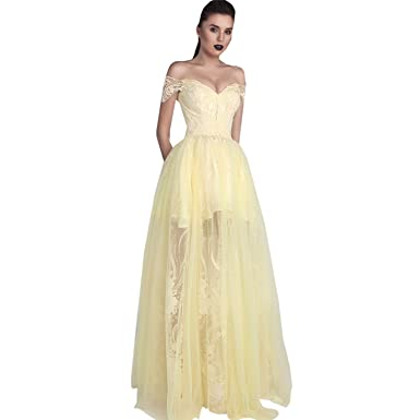 e90c009f5786 Fenghuavip Gorgeous Off-Shoulder Light Yellow Tulle Prom Dresses Long (2)