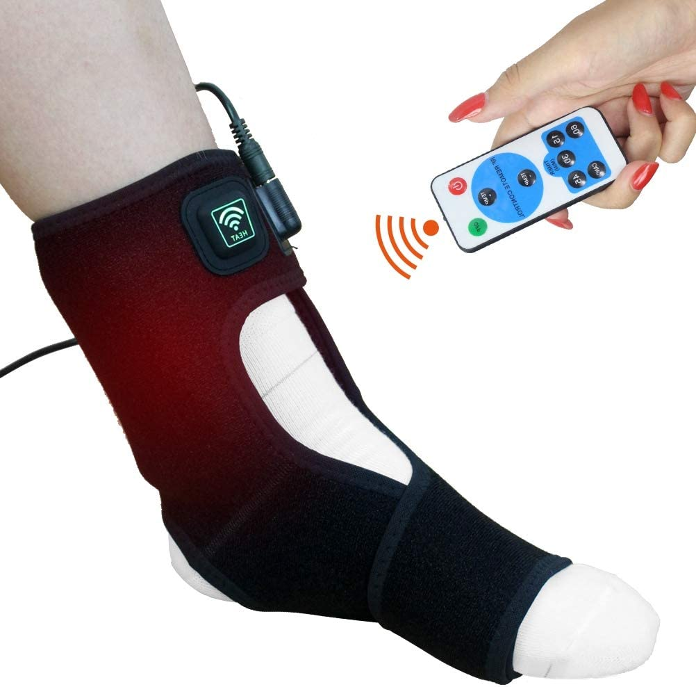ELEKHEAL Heated Foot Ankle Brace Wraps with Remote Control for Planters Fasciitis or Achilles Tendinitis Pain Relief, 4 Auto Off Timers Moist Heat Heating Pad for Men Women Arthritis Injury