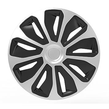 Autostyle Silver/Black Juego Tapacubos de Platino 16 Pulgadas Negro, Plata