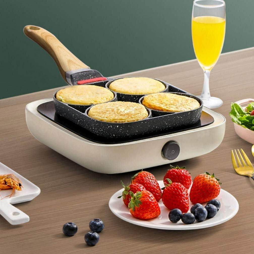 Eierwilderin 40X17,6 cm Hemoton Bratpfanne Antihaft-Kochgeschirr 4 Tassen Eierbecher Ringe Pfannkuchen Omelettpfanne