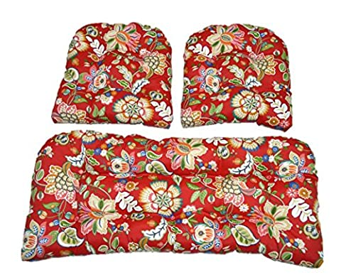 3 Piece Wicker Cushion Set - Red, Blue, Coral, Orange, Teal, Green Floral Scroll Indoor / Outdoor Fabric Cushion for Wicker Loveseat Settee & 2 Matching Chair Cushions