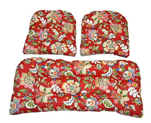 3 Piece Wicker Cushion Set - Red, Blue, Coral, Orange, Teal, Green Telfair Red Floral Scroll Indoor/Outdoor Fabric Cushion for Wicker Loveseat Settee & 2 Matching Chair Cushions