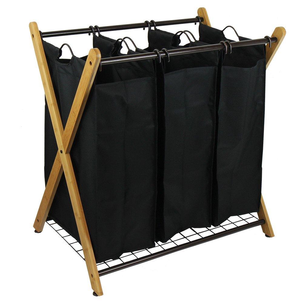 Elegant and Modern X-Frame Bamboo 3 Bag Laundry Sorter