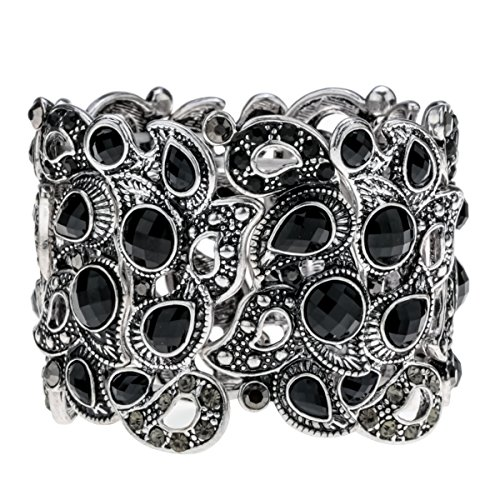 YACQ Angel Jewelry Women's Crystal Flower Stretch Cuff Bracelet Women's Halloween Costume ()