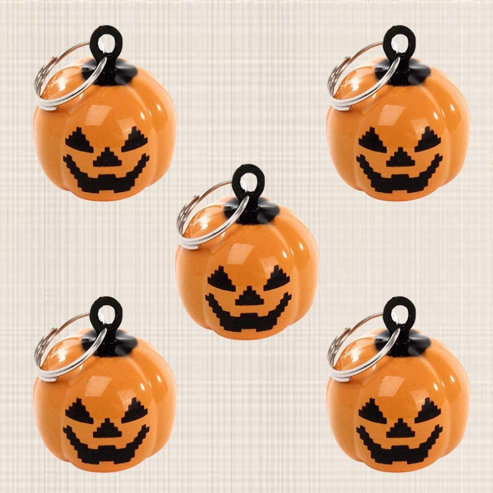 SUPVOX 5pcs Small Jingle Bell Pumpkin Shape Christmas Decoration Bell for Bracelet Necklace Jewelry Making Party Pet Bells