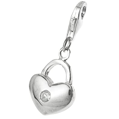 Amazon 925 sterling silver clear cz crystal love heart lock 925 sterling silver clear cz crystal love heart lock dangle bead pendant clasp for european lobster aloadofball Images