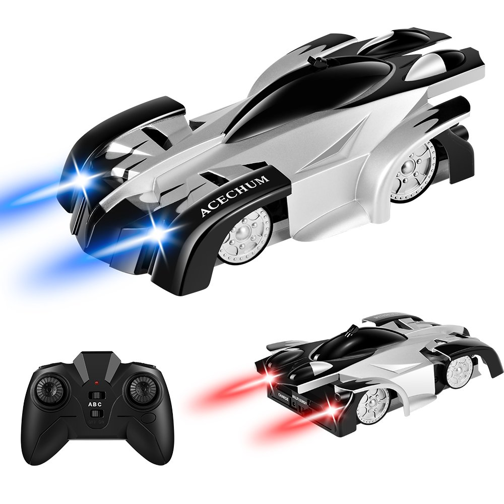 ACECHUM Remote Control Car, Kid Toys for Boys Girls, Dual Mode 360°Rotating Stunt Wall Climbing Car with Remote Control, Head and Rear LED Lights, Intelligent Glowing USB Cable, Girl and Boy Gifts