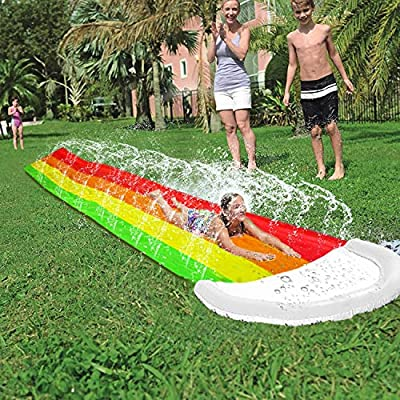 AMENON 14 FT Lawn Water Slides, Rainbow Slip Slide Play Center with Splash Sprinkler and Inflatable Crash Pad for Kids Children Summer Backyard Swimming Pool Games Outdoor Water Toys: Toys & Games
