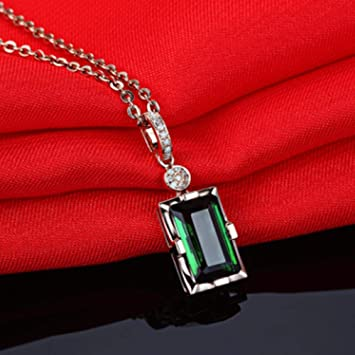 BSDN01 Retro Square Green Crystal Pendant Necklace Mujeres ...