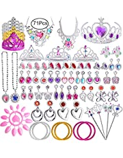 Defrsk 71 Pcs Princess Pretend Jewelry Princess Tiara Girls Dress Up Jewelry Accessories with Necklace, Earrings, Rings, Wand, Bracelets for Girls Birthday Gift Princess Party Favor