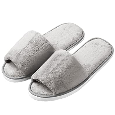 Ladies Grey and White Slip on Comfy soft towelling Slippers 6eS8U1w