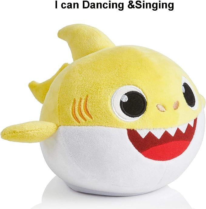 Imagen deBaby Shark Canto y Luz Juguetes de Peluche Muñeca de Felpa Suave de Tiburón Regalos y Juguetes para Niños Bebé de Dibujos Animados de Tiburón de Peluche de Juguete con 3 Colores (Yellow)