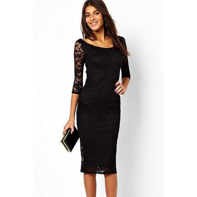 Mela Proibita - Sexy vestito donna NERO abito lungo al ginocchio maniche  lunghe pizzo cerimonia - Nero 5fe3884697d