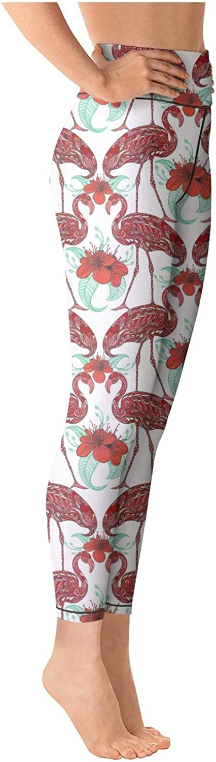 Medssii Girl Yoga Pants Exotic Pink Flamingo Brown Super Soft Yoga Leggings with Pockets