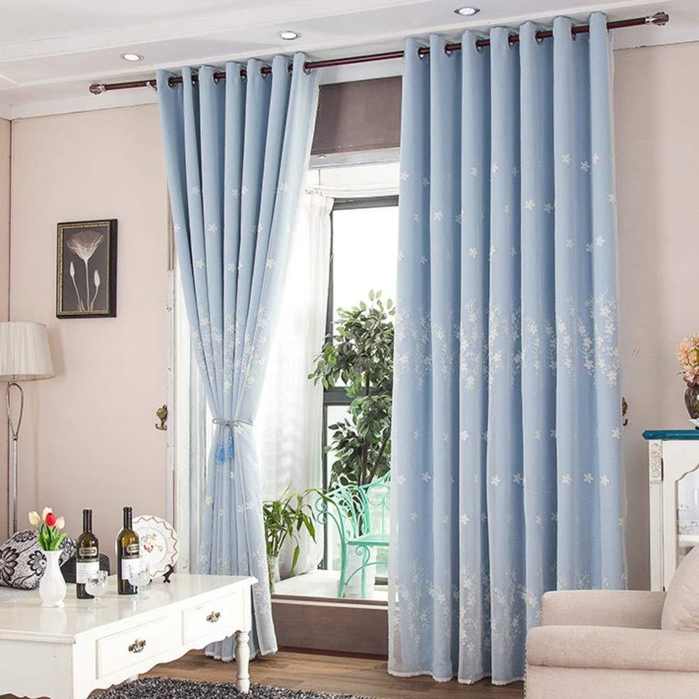Vorhänge Korean Pastoral Kleine frische Stickerei Fenster Vorhänge Verdunkelungsvorhänge Doppelte Droom Wohnzimmer Erker Bbalcony Thermische Isolierte Vorhänge ( Farbe : Blau , größe : 200x270cm )