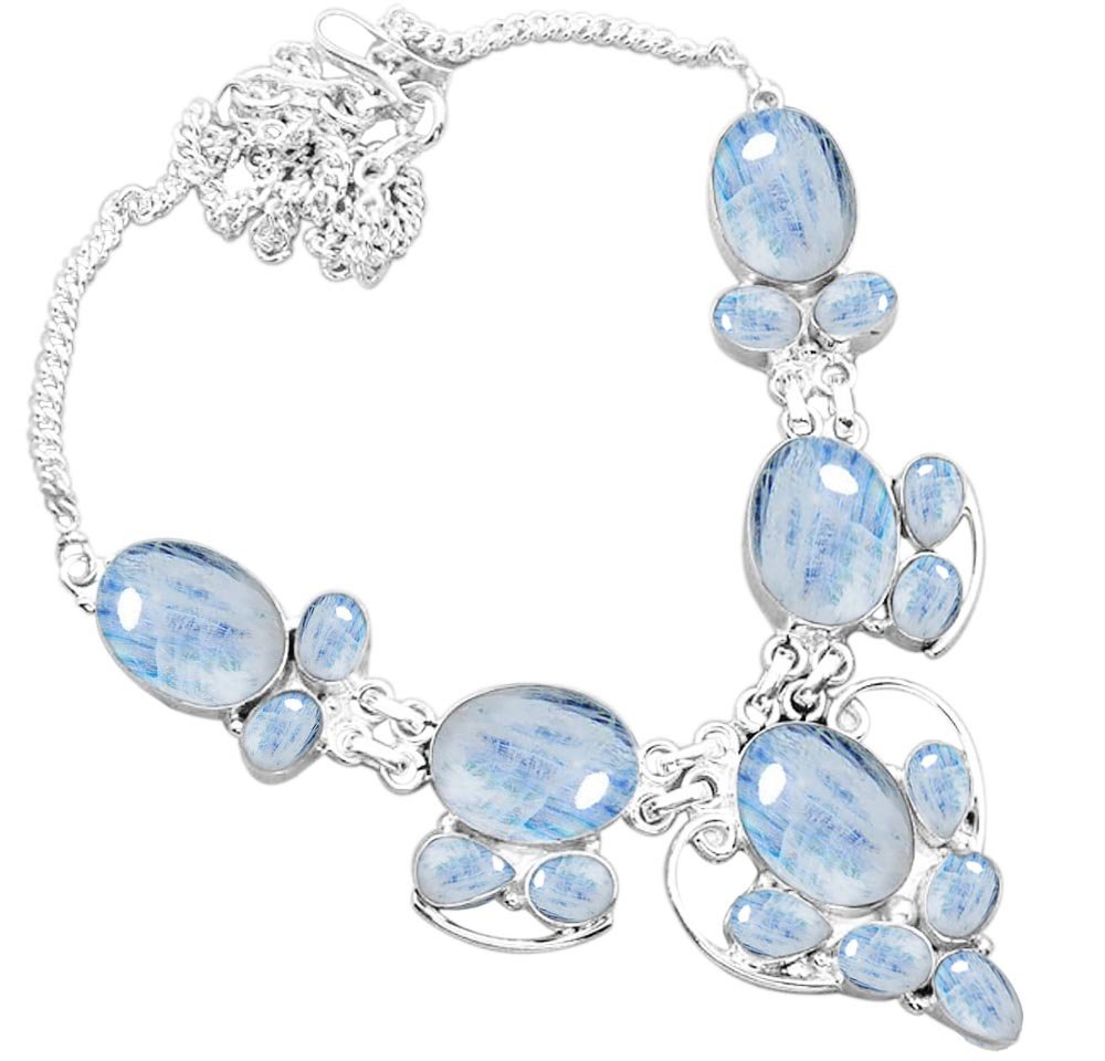 55.50ctw Genuine Rainbow Moonstone & 925 Silver Plated Necklace