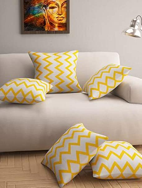 "Story@Home Premium Printed 5 Piece Cotton Cushion Cover Set - 16""x16"", Yellow Cushion Covers at amazon"