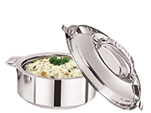 TMT Steel Serving Pot,Stainless Steel Casserole, 1.8 Litre, Silver,Steel Chapati Storage Box,Rotii Serving Pot,Chapati Dabba