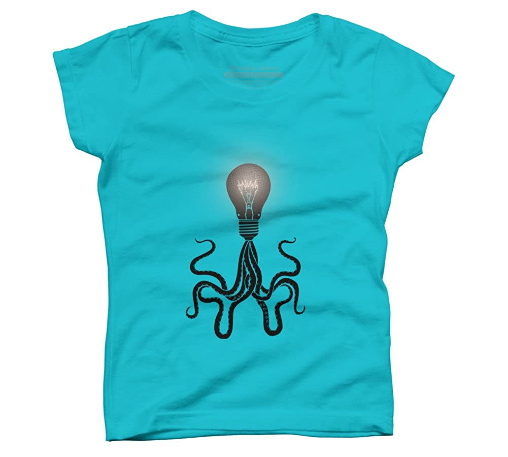 Design By Humans Octopus bulb Girls Youth Graphic T Shirt