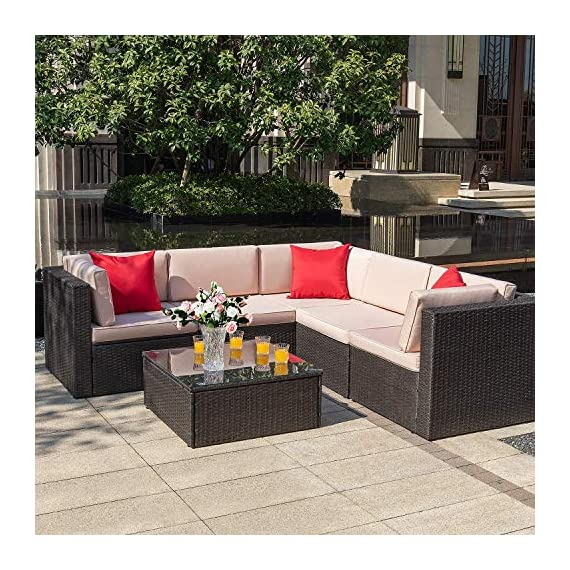 Homall 6 Pieces Patio Furniture Sets Outdoor Sectional Sofa All Weather PE Rattan Patio Conversation Set Manual Wicker Couch with Cushions and Glass Table (Beige) - Widely used: It can satisfy 4-5 people to eat and talk comfortably without feeling crowded. Suitable for your courtyard, patio, backyard and poolside, and it will make your space more modern and elegant. Free combination: In order to give you and your family more comfortable experience and more choices, we designed this Homall set. It can be rearranged in a variety of ways to fit your decorations or space. Easy to clean: Cushions are equipped with zippers for easy disassembly and are washable. The easily removable tempered glass on the table is very convenient to clean after use, meanwhile is very firm. - patio-furniture, patio, conversation-sets - 61 2m9gATHL. SS570  -