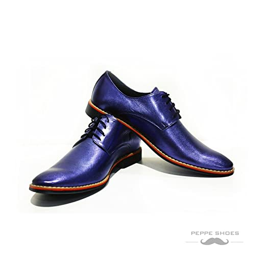 Modello Grosseto - Handmade Italian Mens Blue Oxfords Dress Shoes - Cowhide Smooth Leather - Lace-Up