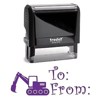 amazon com purple self inking stamp excavator digger boys