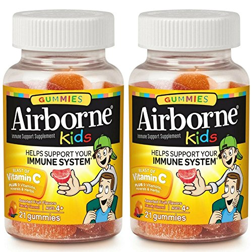 Airborne Kids Assorted Fruit Flavored Gummies, 21 Count - 667mg of Vitamin C and Minerals & Herbs Immune Support (Pack of 2)