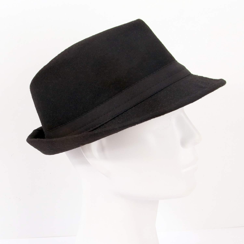 Melesh Unisex Classic Trilby Fedora Hat (Black) by Melesh (Image #7)