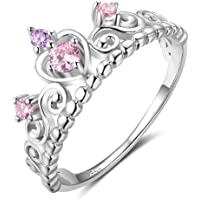 925 Sterling Silver Princess Heart Crown Pink & Purple CZ Band Ring, Size 6 7 8