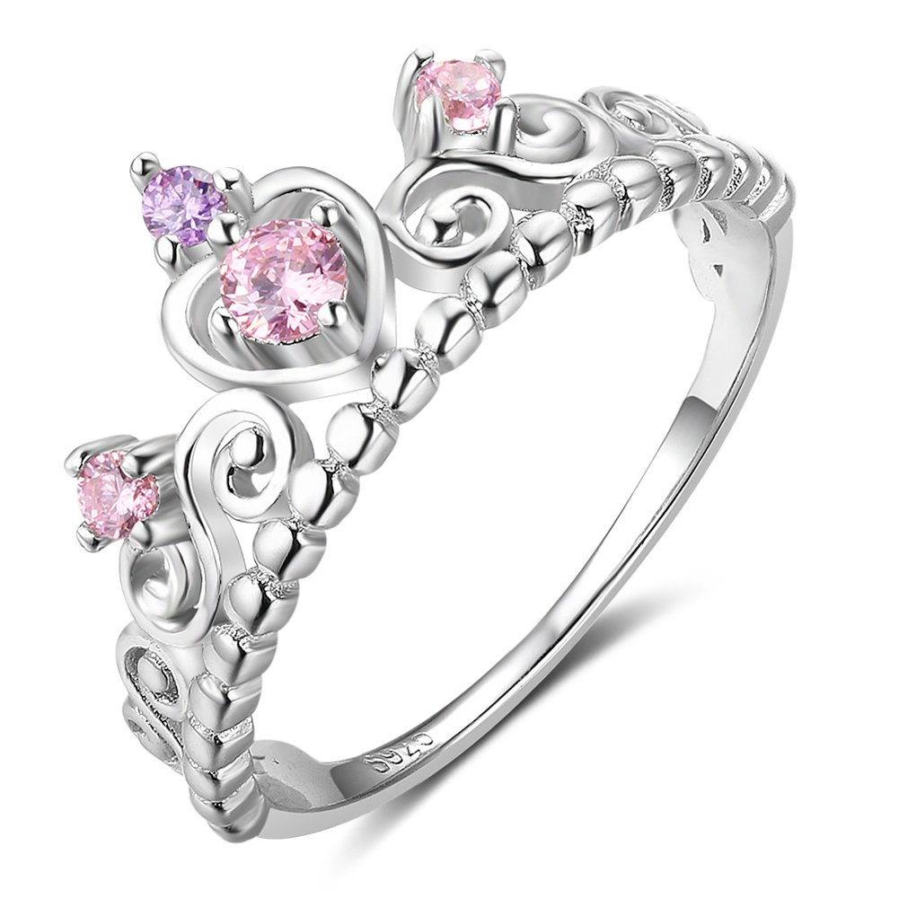 Furious Jewelry 925 Sterling Silver Princess Heart Crown Pink & Purple CZ Band Ring, Size 6 7 8 (8)
