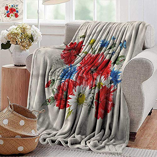 Xaviera Doherty Camping Blanket Flowers,Vintage Poppies Daisy Lightweight Breathable Flannel Fabric,Machine Washable 60