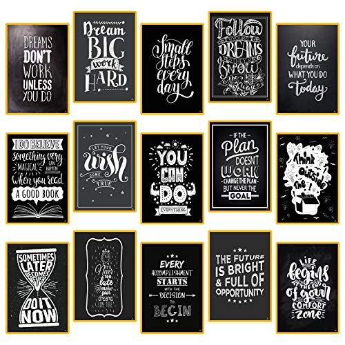 "15 Set Motivational Posters for Classroom Decorations Chalkboard - Home, Room, Office Inspirational Quotes Wall Decor Black White Pictures 13"" x 19"" - Inspiring Students, Women, Men, Teachers Gifts"
