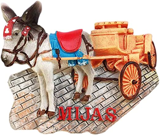 Imán de nevera 3D Mijas España con diseño de carro de burro, diseño de perro de recuerdo, hecho a mano para el hogar y la cocina: Amazon.es: Hogar