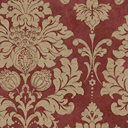 MD29421 - Silk Impressions Damask Gold & Red Galerie Wallpaper