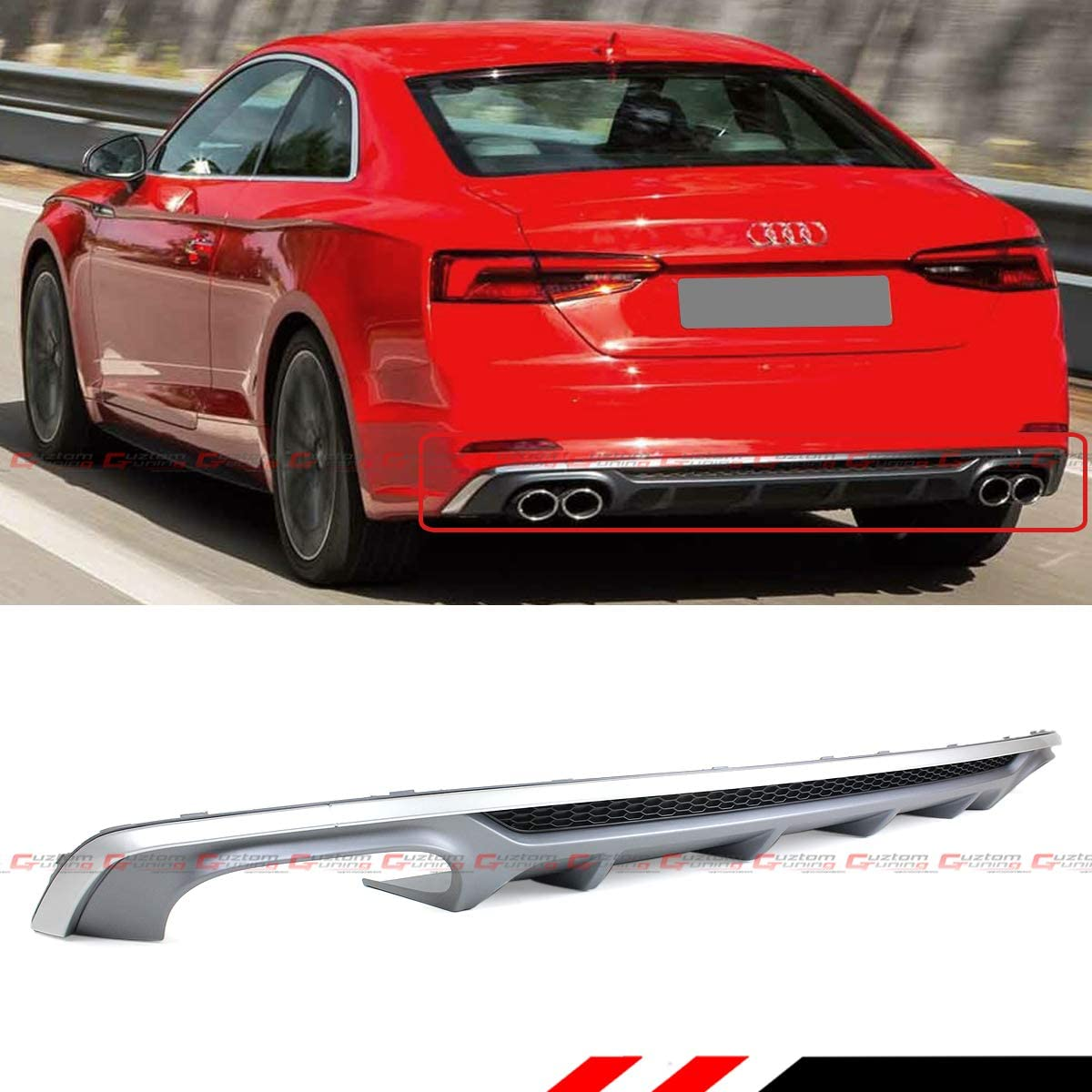 Cuztom Tuning S5 Style Quad Exhaust Tip Shark Fin Rear Bumper Diffuser Valance Compatible for 2018-2019 Audi A5 SLINE 2/4 Door B9