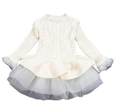 72e0ccf0ce89cb Mädchen Gestrickt Sweatshirt Winter Pullovers Hirolan Kinder Häkeln Tutu  Kleid Tops Kleider (100cm, Beige