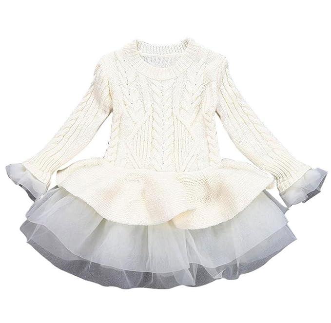 Hirolan Mädchen Gestrickt Sweatshirt Winter Pullovers Kinder Häkeln