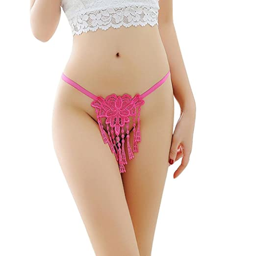 9bc8c1eef2e Image Unavailable. Image not available for. Color  Rucan Women Ladies Pearl  Thong Bragas Sexy Panties Lace Tassel Briefs Underwear ...