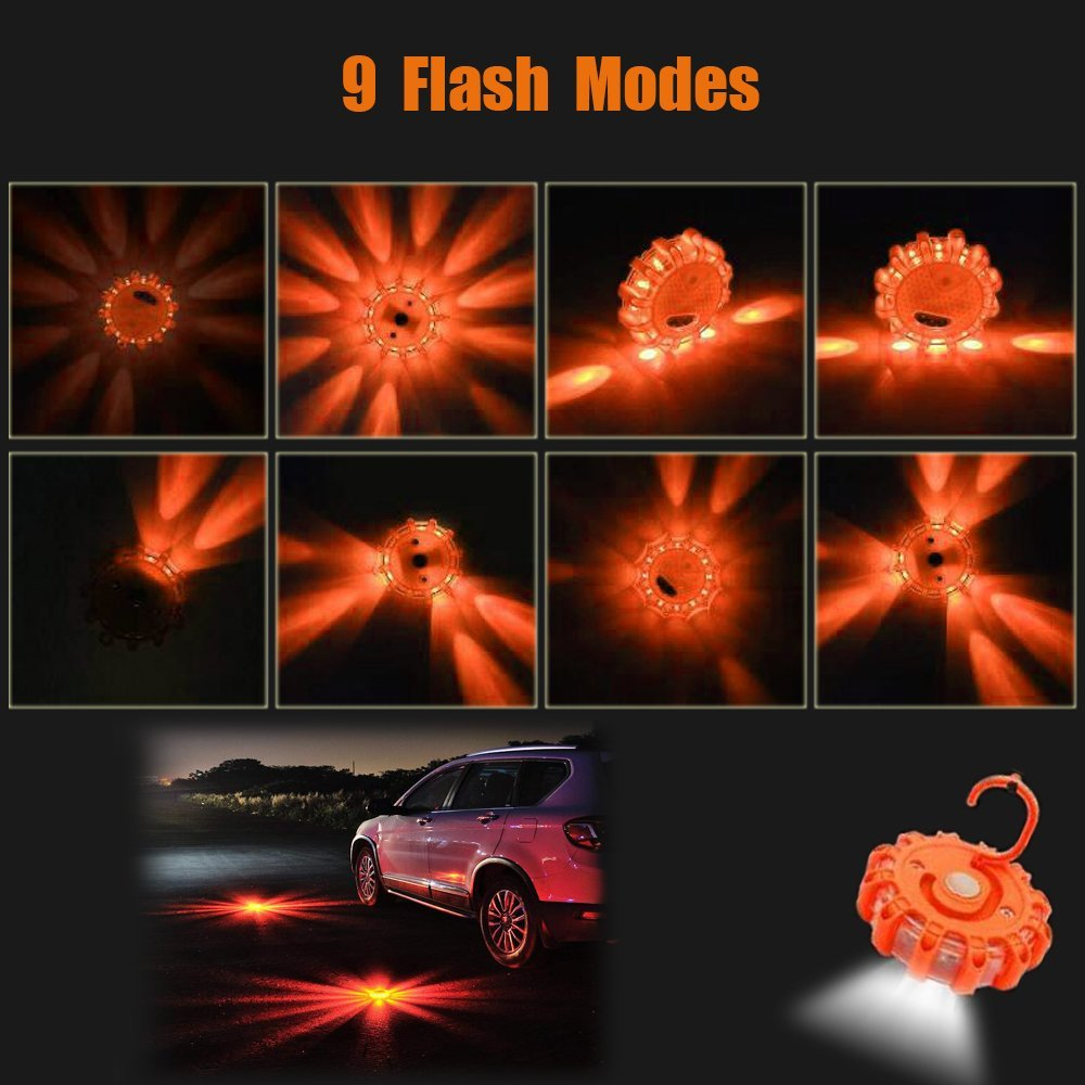 LED Road Flares Emergency Warning Lights 3 Pack,Emergency Beacon Safety Flare Flashing Warning Light for Car Truck Boat with Hook,Carrying Case,Screwdriver tool and Magnetic Base,Car Emergency Kit MiGaoMei