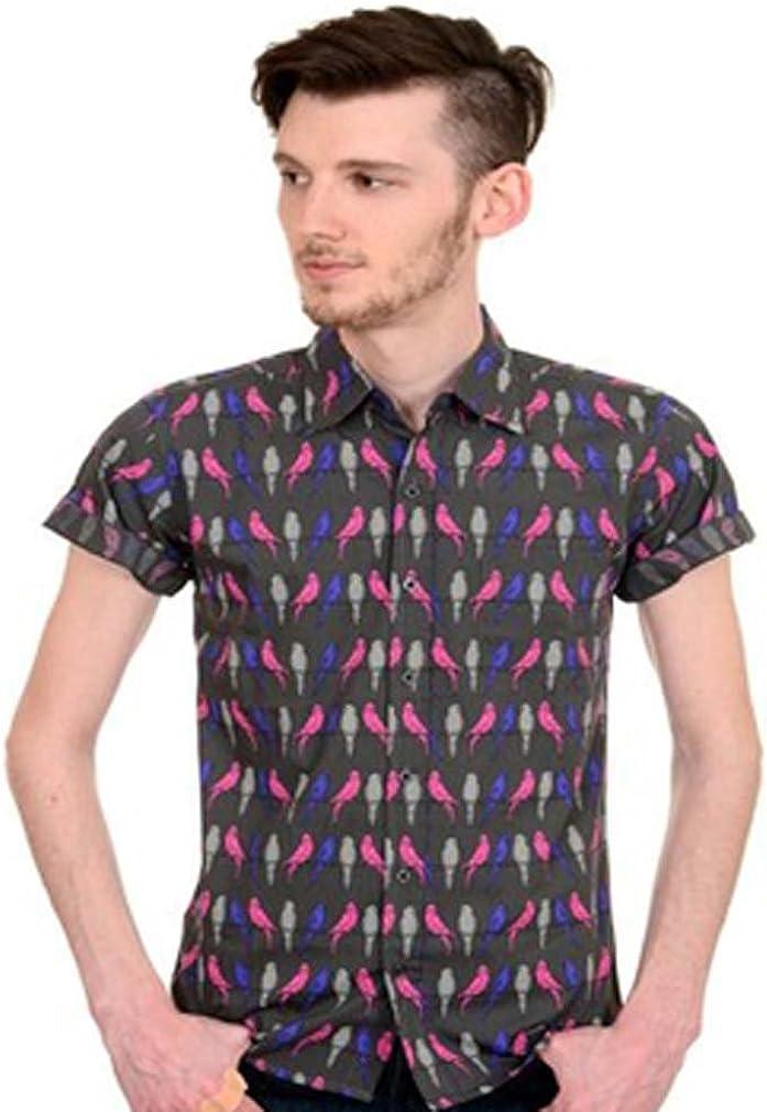 Run & Fly - Camisa Casual - Animal Print - Clásico - para Hombre Gris Gris: Amazon.es: Ropa y accesorios