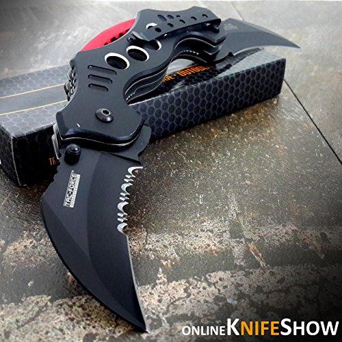 10.25″ DUAL BLADE KARAMBIT SPRING ASSISTED TACTICAL FOLDING KNIFE Open Pocket