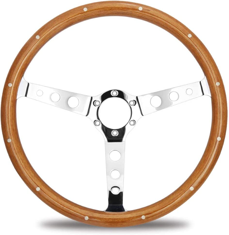 Kyostar Universal 350mm 14 Inch Grant Classic Nostalgia Style Wood Grain Steering Wheel with Horn Kit