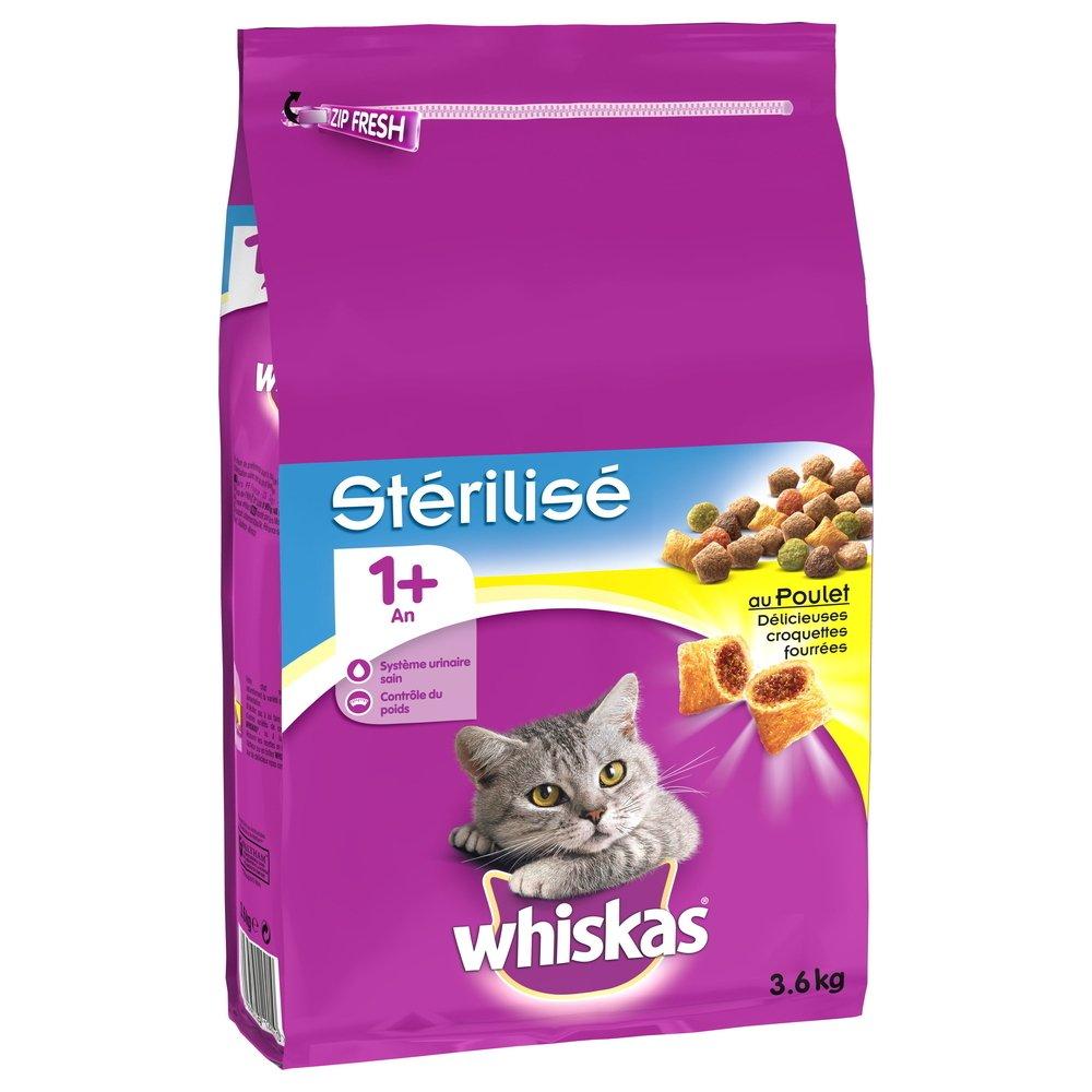 Whiskas Croquettes au Poulet Stérilisé 1+ pour Chat Stérilisé 3, 6Kg