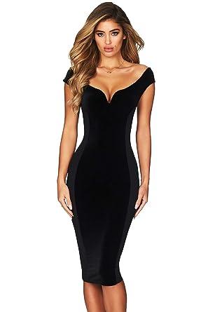 d3a4d056fd51b shelovesclothing Women's Off The Shoulder V Neck Hour Glass Shape Midi  Bodycon Dress (Black,
