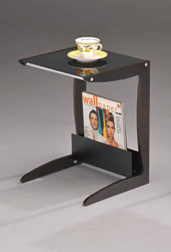 Kings Brand Walnut Black Accent End Table with Magazine Rack